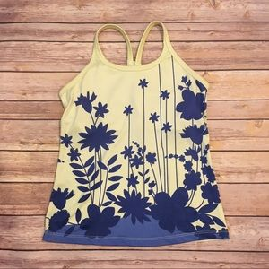 Athleta Yellow and Blue Floral tank, size Small